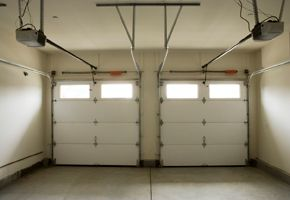 2 garage doors with windows from inside